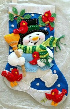 Sequin Christmas Stocking with felt snowman and train Personalize for FREE Christmas Stocking Kits, Felt Christmas Stockings, Stocking Tree, Felt Christmas Decorations, Christmas Wood, Christmas Pictures, Holiday Ornaments, Christmas Wreaths, Christmas Presents