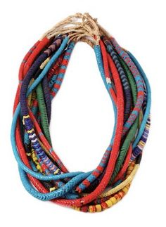 style extraordinaire: diy: dannijo necklace a good story. African Trade Beads, African Jewelry, Tribal Jewelry, Beaded Jewelry, Handmade Jewelry, Jewellery, African Necklace, Bead Necklaces, Tribal Necklace