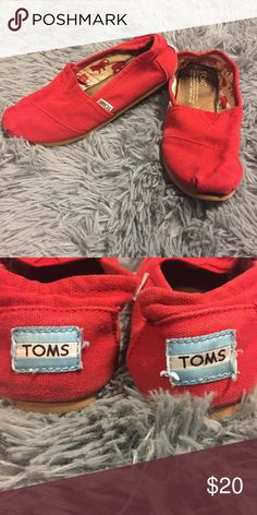 Red Toms women's size 6 In great condition. Gently worn, but still have a lot of use in them :) TOMS Shoes Flats & Loafers