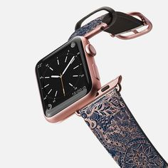 Casetify Apple Watch Band Saffiano Leather Watchband - Modern Rose Gold Dreamcatcher Floral Doodles Navy Blue Illustration by Girly Trend Apple Watch Bands Gold, Bracelet Apple Watch, New Apple Watch, Apple Watch 42mm, Apple Watch Series 2, Leather Watch Bands, Ipad, Black Apple, Black White