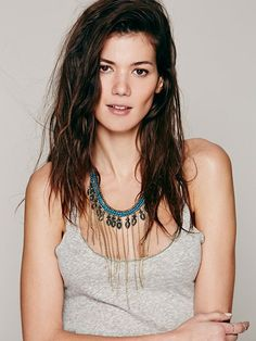 Free People Ball Chain Fringe Collar black and silver