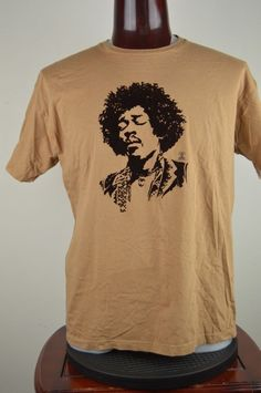243f2915c5 Jimi Hendrix XL Mens Graphic T Shirt Tan With Raised Brown Portrait Image   AuthenticJimiHendrix