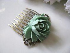 Hair pin, green, vintage