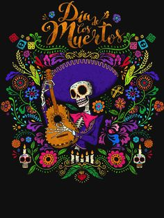 Day of the dead - Also a Halloween-ish idea Mexican Skulls, Mexican Folk Art, Mexican Artwork, Mexican Skull Tattoos, Mexican Paintings, Indian Tattoos, Los Muertos Tattoo, Day Of The Dead Artwork, Mexico Day Of The Dead