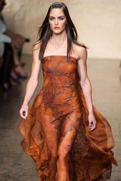 Gorgoeus! Vegetable-dyed & sunbaked terracotta silk chiffon dress via Donna Karan Spring '14