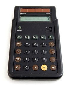 Plastic solar caculator Braun control solar ETS 77 design Dietrich Lubs Dieter Rams 1987 executed by Braun / Germany