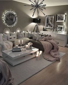 48 cozy farmhouse living room decor ideas you .- 48 gemütliche Bauernhaus Wohnzimmer Dekor Ideen, die Sie im Dorf 14 fühlen lassen 48 cozy farmhouse living room decor ideas that will make you feel in the village 14 - Cozy Living Rooms, Living Room Grey, Apartment Living, Silver Living Room, Living Area, Cozy Apartment, Living Room Decor For Apartments, Girl Apartment Decor, Corner Sofa Living Room