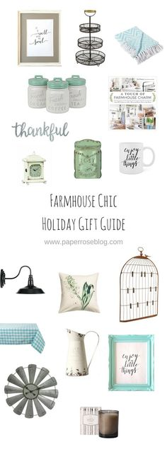 Farmhouse Chic Holiday Gift Guide for Home Decor. Practical and pretty gifts to suite the Farmhouse decor lover