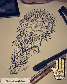 Geometric peony tattoo design idea byDzeraldas Jerry Kudrevicius @atlantic_coast_tattoo  #tattooidea #tattooideas dotwork ornamental flower tattoo design