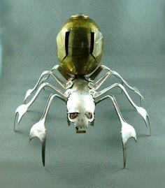 SpiDroid Vintage Metal Spider Sculpture