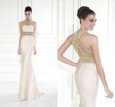 Fashion New Bling Backless Sexy Beading Sweetheart Satin Tarik Ediz 2015 Formal Mermaid Evening Dress Long Prom Dresses