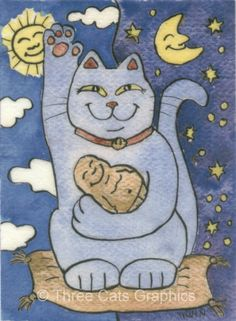 Blue Maneki Neko Lucky Cat with Buddha on by threecatsgraphics