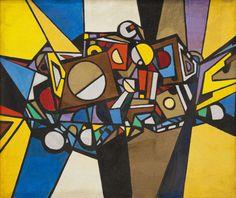 René Roche (1932-1992)  Composition, circa 1972  Acrylique sur toile  160 x 192 cm.