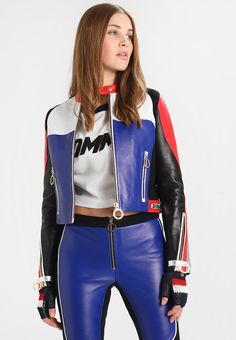 Tommy x Gigi Leather Speed Jacket — Red / Blue Tommy Hilfiger Gigi Hadid, Vest Outfits, Cool Outfits, Fitted Jumpsuit, Mode Top, Summer Jacket, Cool Street Fashion, Cycling Outfit, Skirt Fashion