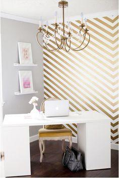 Washi Tape Wall Decor - Gold Home Office Washi Wall from SoShay