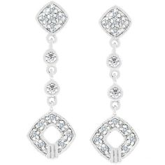 White Gold Rhodium Bonded Pave Clear CZ Milligrain Drop Earrings in Silvertone. #mycustommade