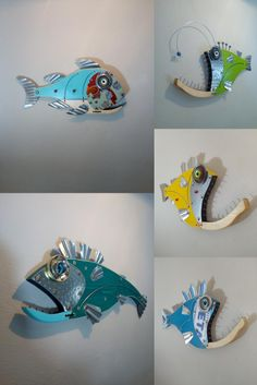 Wood Fish, Metal Fish, Fish Wall Art, Fish Art, Seaside Art, Angler Fish, House Art, Beach House Decor, Wall Sculptures