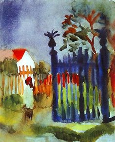 Artist: August Macke Title: Garden Gate Product type: Framed art print Style: Contemporary Format: Portrait Size: Large Subject: Museum Masters Image dimensions: 30 inches high x 20 inches wide x 1 in
