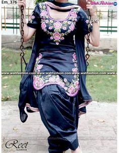 Give yourself a stylish & designer look with this Tempting Gray Embroidered Punjabi Suit. Embellished with Embroidery work and lace work. Available with matching bottom & dupatta. It will make you noticable in special gathering. You can design this suit in any color combination or on any fabric. Just whatsapp us for more details. For more details whatsapp us: +919915178418
