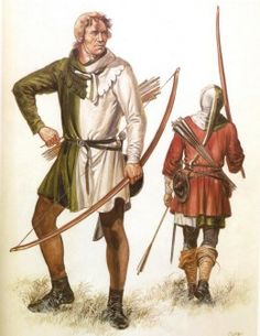 Two English Longbowmen, each carry a falchion and buckler around their waist as backup weapon.