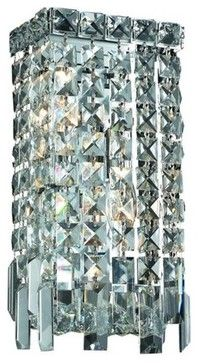 Elegant Lighting 2033W6C Maxim 2-Light Crystal Wall Sconce, Finished in Chrome traditional-wall-sconces