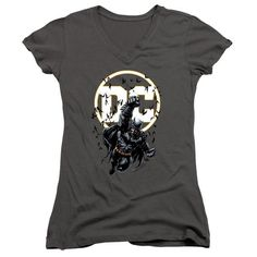 Batman DC Logo Bats Flying Juniors and Women Charcoal T-Shirts