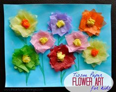 I HEART CRAFTY THINGS: Tissue Paper Flower Art Project