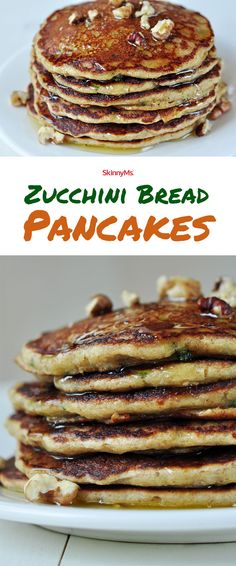Say good morning to these fluffy zucchini bread pancakes! Breakfast Dishes, Breakfast Recipes, Breakfast Options, Breakfast Pancakes, Breakfast Items, Free Breakfast, Paleo Breakfast, Clean Eating Recipes, Cooking Recipes