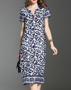 #AdoreWe #VIPme Shift Dresses - ES·DANNUO Blue Linen V Neck Vintage H-line  Midi Dress - AdoreWe.com