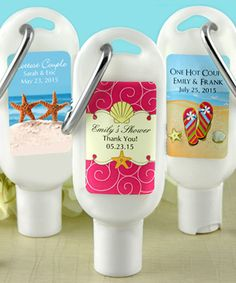 Very cute personalized sunscreen favors for beach wedding