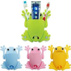 Cute Frog Pattern Toothbrush Rack Makeup Tools Wall Stick Paste Organizer Holder #Affiliate