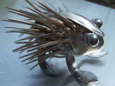 The Humble Forkupine,Silverware,Metal Sculpture,Welded Art. $38.00, via Etsy.
