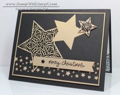 Bright & Beautiful - Stamp With Amy K black and brushed gold, stars black embossed on brushed gold cs,