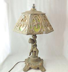 CHERUB SLAG Glass LAMP c1930s Ornate Shade by PremierAntiquesNY, $199.00