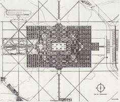 miasto dla 3 milionów, 1922; kontrowersje jako urbanista; nawiązanie do klasycyzmu i baroku; castrum romanum w gigantycznej skali, strefowanie, zieleń, geometryczny rzut, na skrzyżowaniu plac