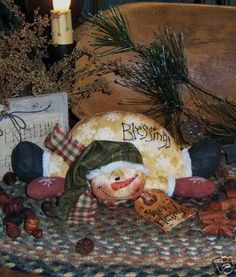 Primitives by Folk Art Artist...Patti Sikes PR    Up for purchase is this....... Primitive Snowy Blessings Fallen Snowman Pattern #193..... An