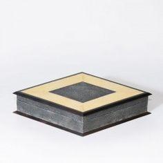 DIAMOND BOX stingray caviar and golden yellow, parchment caviar, ebony recon. #Cravt #DKhome #Craftsmanship #Living #Furniture #Accessories #Ebony #Boxes #Luxuryfurniture