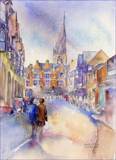 Beautifull artwork by artist Sheila Gill of the Crooked Spire in Chesterfield, an inspirational iconic building for many