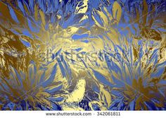 Blue golden abstract   background , with   painted  grunge background texture for  design . - stock photo