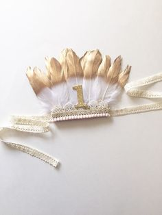 Feather Crown Gold White Feathers Birthday Photo by SofiasHouse