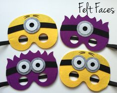 Minion Party Masks, Despicable Me Party Favors, Minion Party Ideas