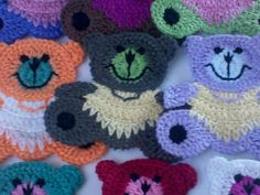 9 Large Crochet Teddy Bear Appliques 9 Colors by Qspring on Etsy
