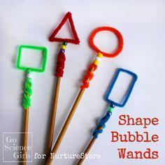 Shape Bubble Wands - playful outdoor learning for kids