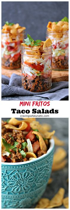Mini Fritos Taco Salad. These individual Mini Fritos Taco Salad in jars are the perfect dish to whip up for potlucks or picnics. They are incredibly easy to make and you can customize them to your own taste. #sponsored #tacotuesday #salad #tacosalad #dinner