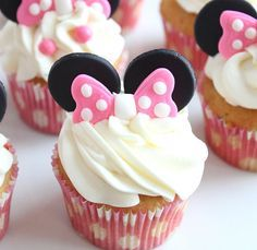 Minnie mouse ears and bow cupcake by TheVintageVanilla on EtsyYou can find Minnie mouse cake and more on our website.Minnie mouse ears and bow cupcake by TheVintageVani. Mini Mouse Cupcakes, Minnie Mouse Cupcake Toppers, Bow Cupcakes, Bolo Minnie, Cupcake Cakes, Minnie Cupcakes, Minnie Cake, Mickey Cakes, Cupcake Wrappers