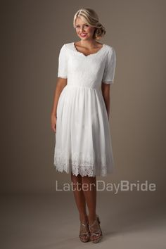 Modest Wedding Dress: Dillinger.  Available at Latterday Bride. Go to our website to see more. latterdaybride.com