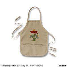 d87d021c194 Floral cartoon fun gardening or Kitchen apron kids Shop Apron