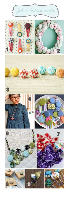 Fabric covered button ideas with a tutorial on how to cover the buttons from Lil Blue Boo