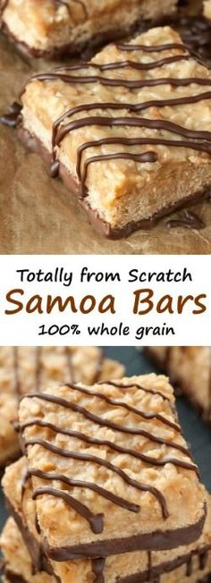 These Samoa bars are made completely from scratch (including the caramel!) and are a little healthier with 100% whole grains!