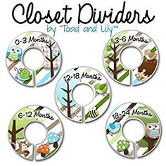 Amazon.com: CLOSET DIVIDERS Owls Love Stripes Boys Forest Woodland Bedroom and Baby Nursery Art Decor CD0006 (Size Labels): Home & Kitchen